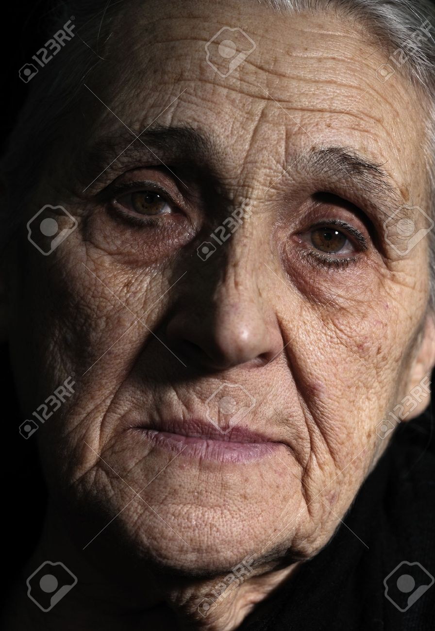 low key portrait of old woman close- up Stock Photo - 8904889