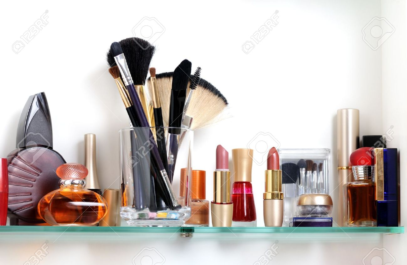 White Bathroom Shelf With Cosmetics And Toiletries Stock Photo   9501561