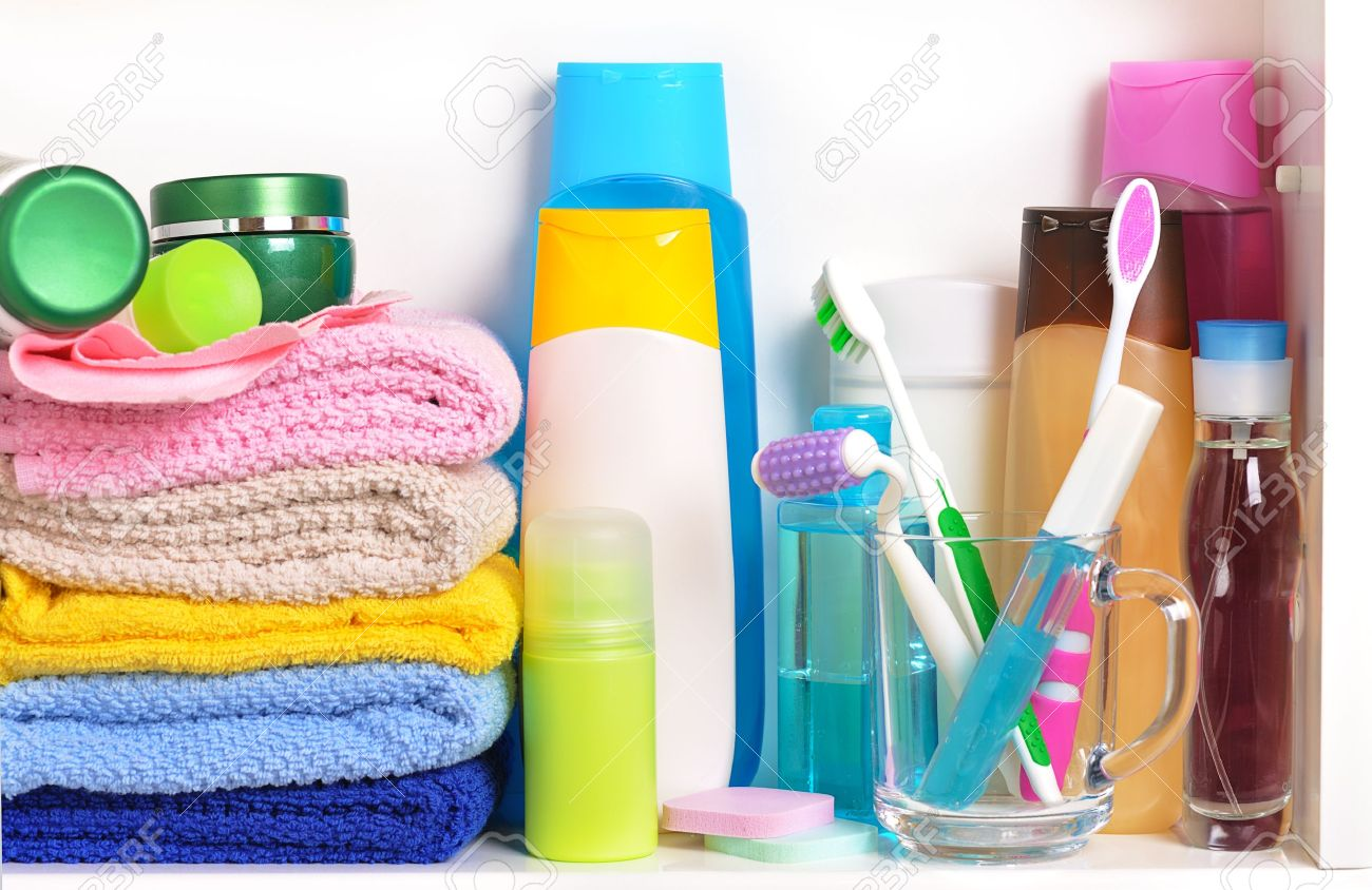 Stock Photo   White Bathroom Shelf With Cosmetics And Toiletries