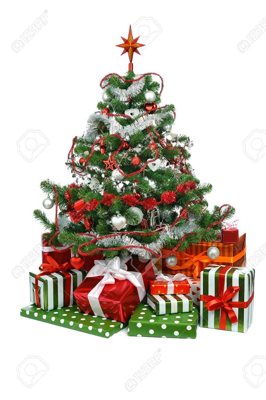 Christmas tree with festive gift boxes  isolated on white background Stock Photo - 11079507