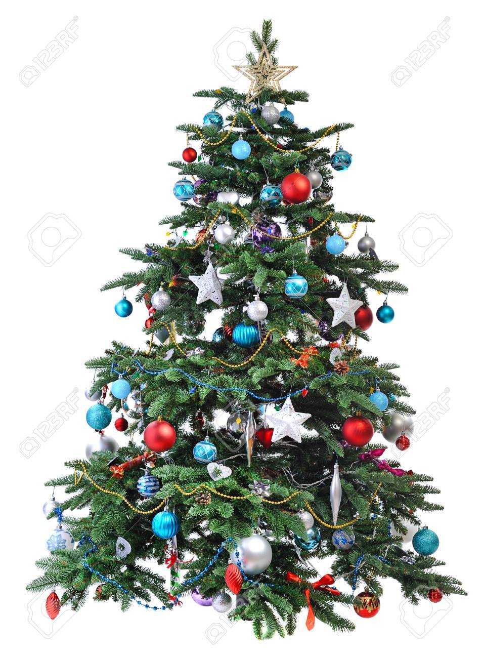 Decorated Christmas Tree Isolated On White Background Stock Photo Picture And Royalty Free Image Image 28512503