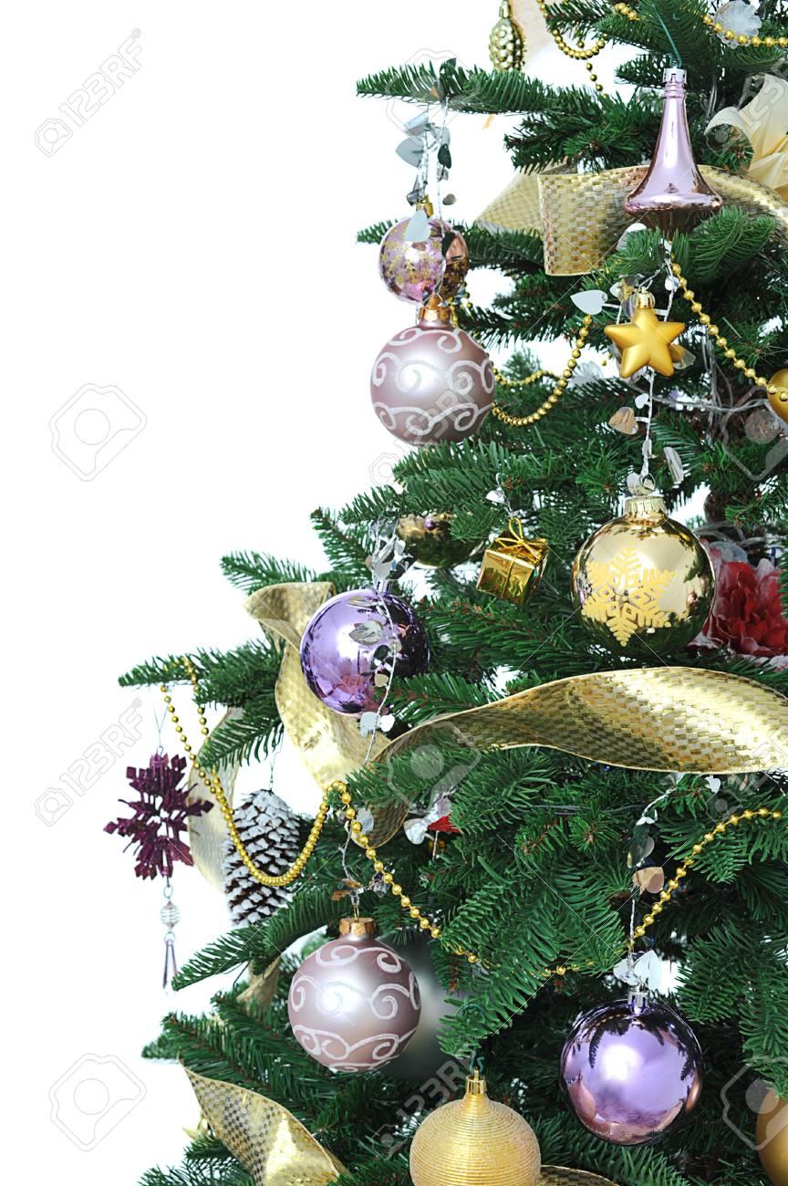 Decorated Christmas Tree Close Up On White Background Stock Photo