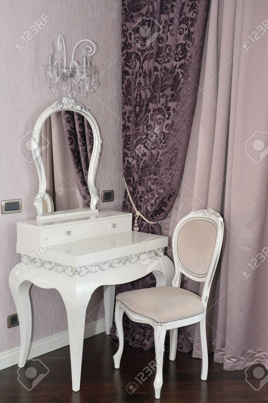White Dressing Table And Chair In A Living Room Modern Classics With Rococo Elements Stock