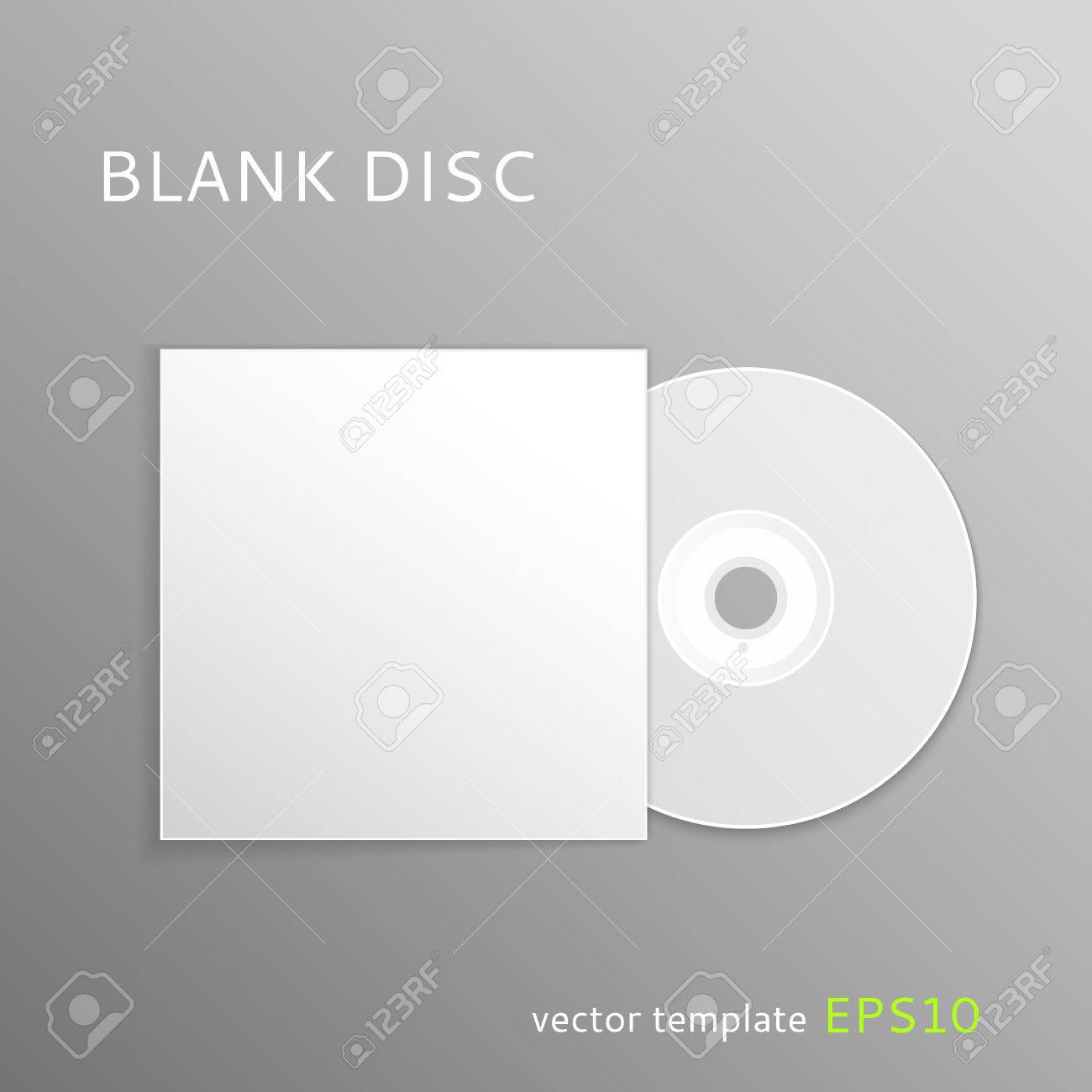 Vector Blank CD With Paper Cover Isolated On Gray Background ...