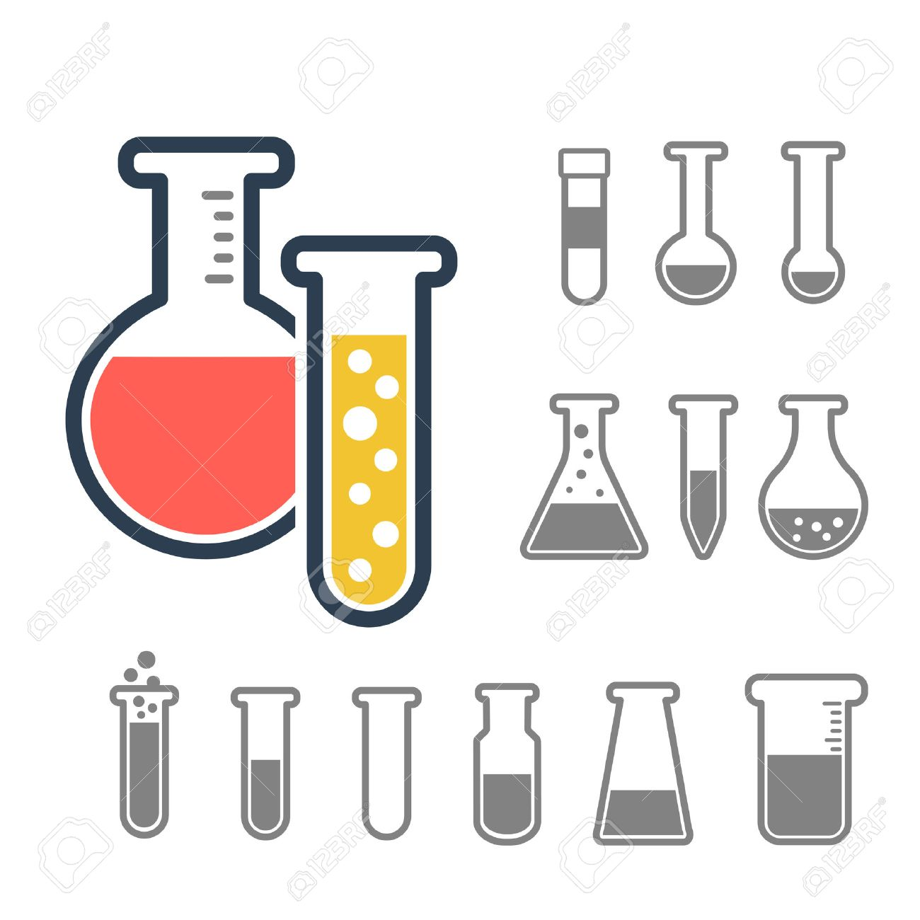 Chemical Test Tube Icons Set Lab Equipment Isolated On White Experiment Flasks For