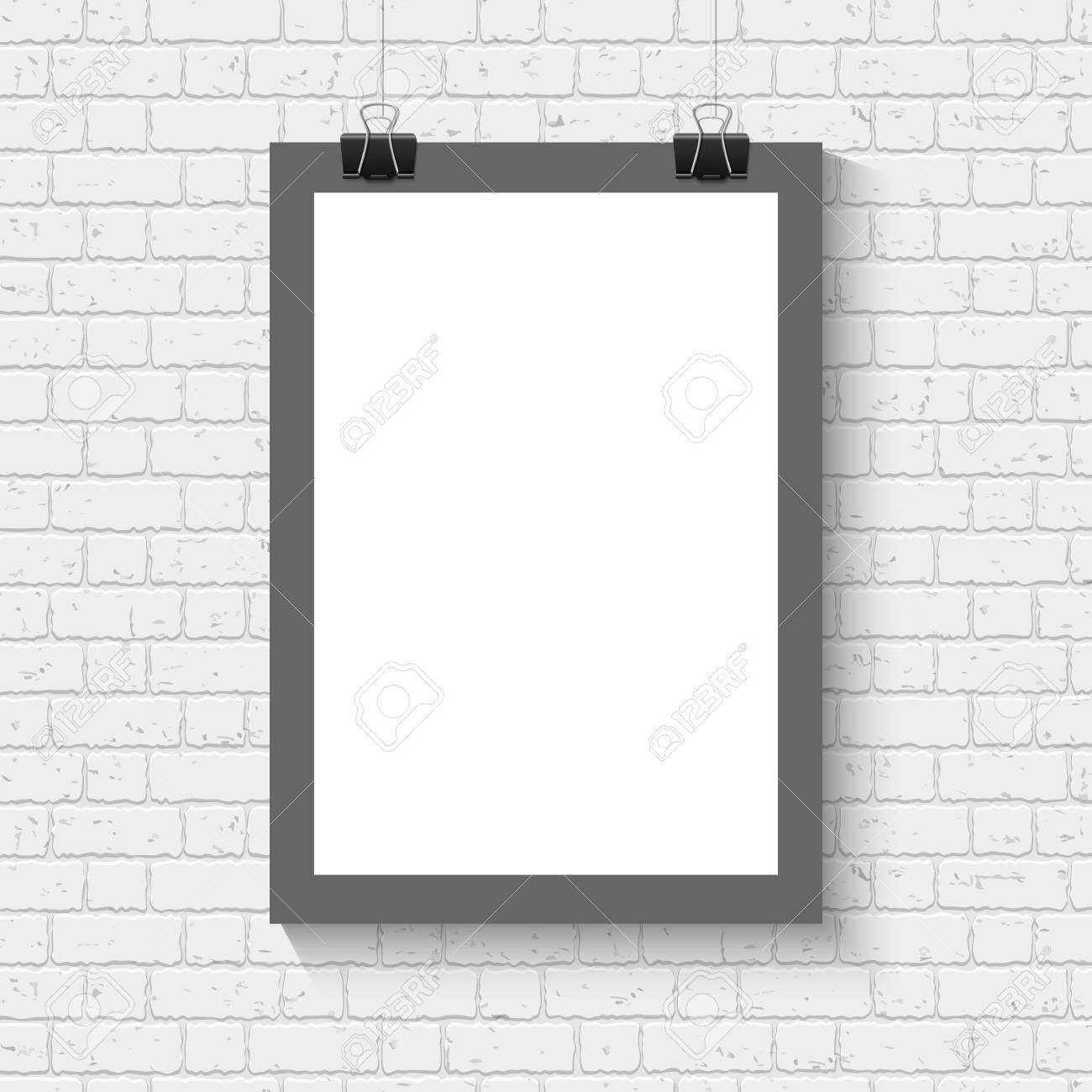 Vektor Leeres Weißes Blatt Papier Plakat Mit Schwarzem Rahmen Mock ...