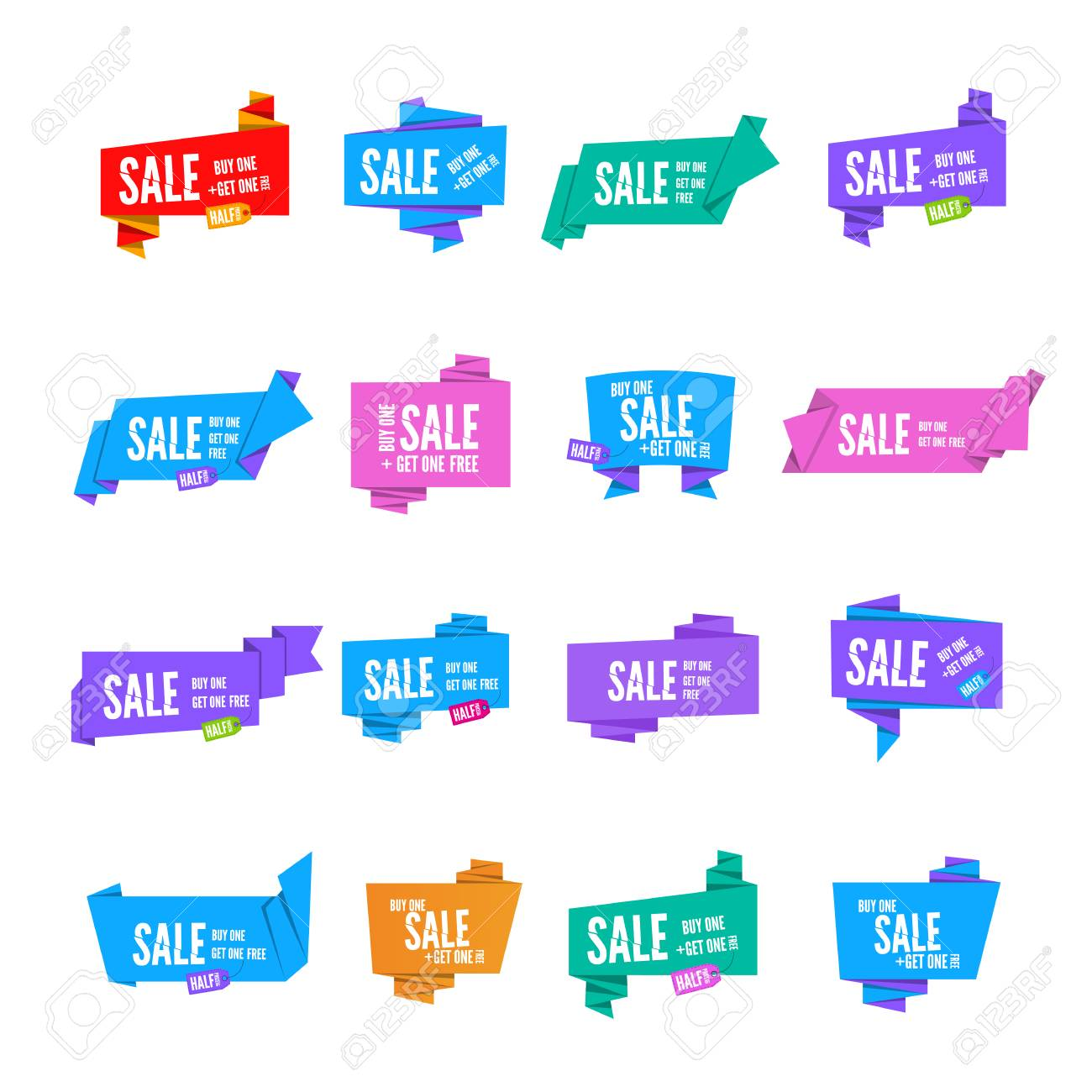 Colorful Origami Paper Speech Bubbles Collection Set Of Flat