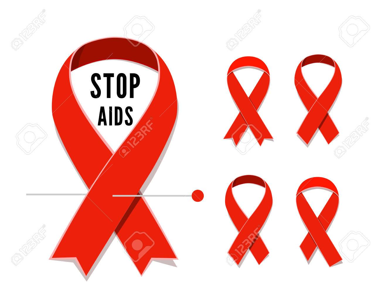 Set of aids awareness red satin ribbons isolated on white set of aids awareness red satin ribbons isolated on white background illustration of symbol for buycottarizona Image collections
