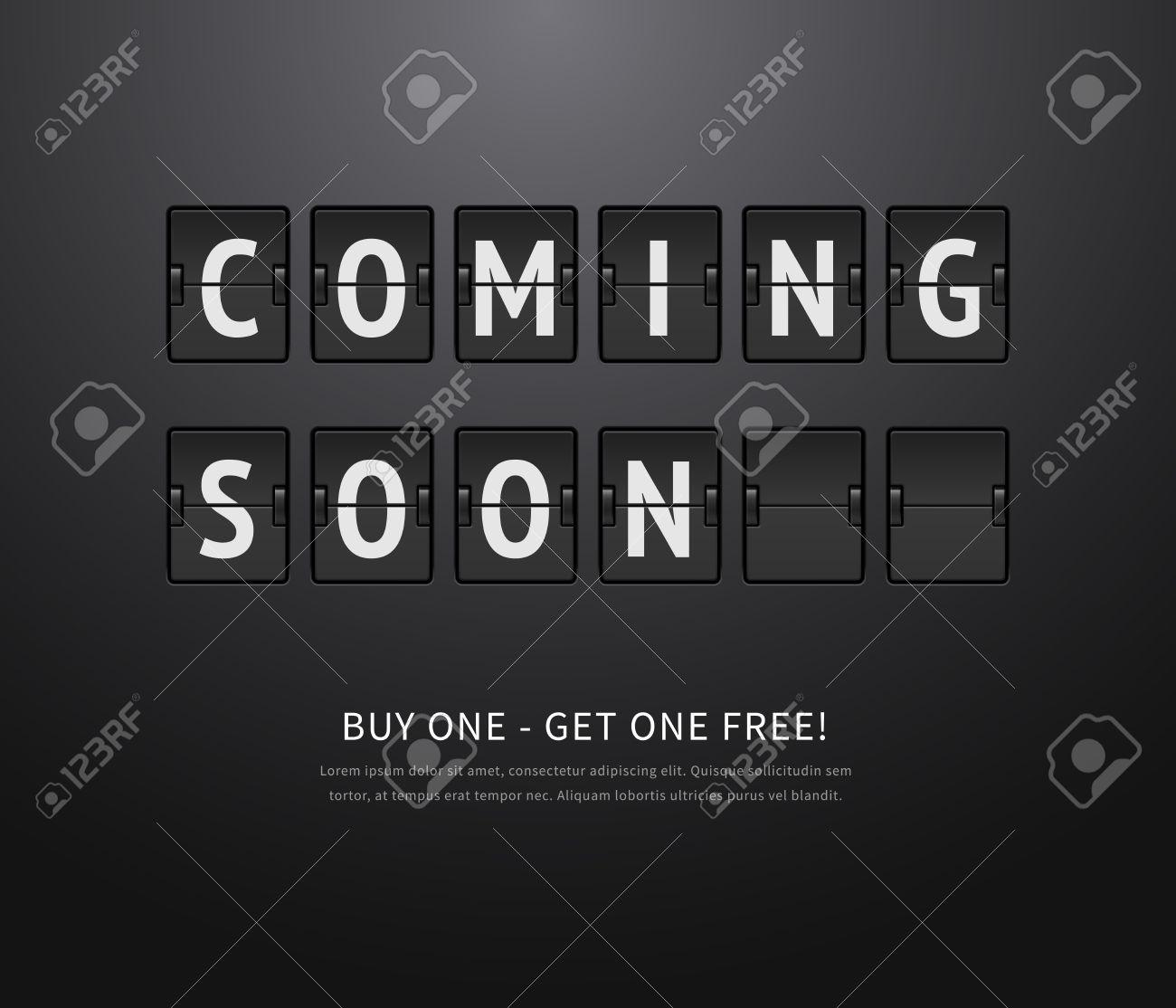 Coming soon. Black flip board, analog scoreboard on dark background. Vector illustration of flip countdown calendar to promotion - 50019325