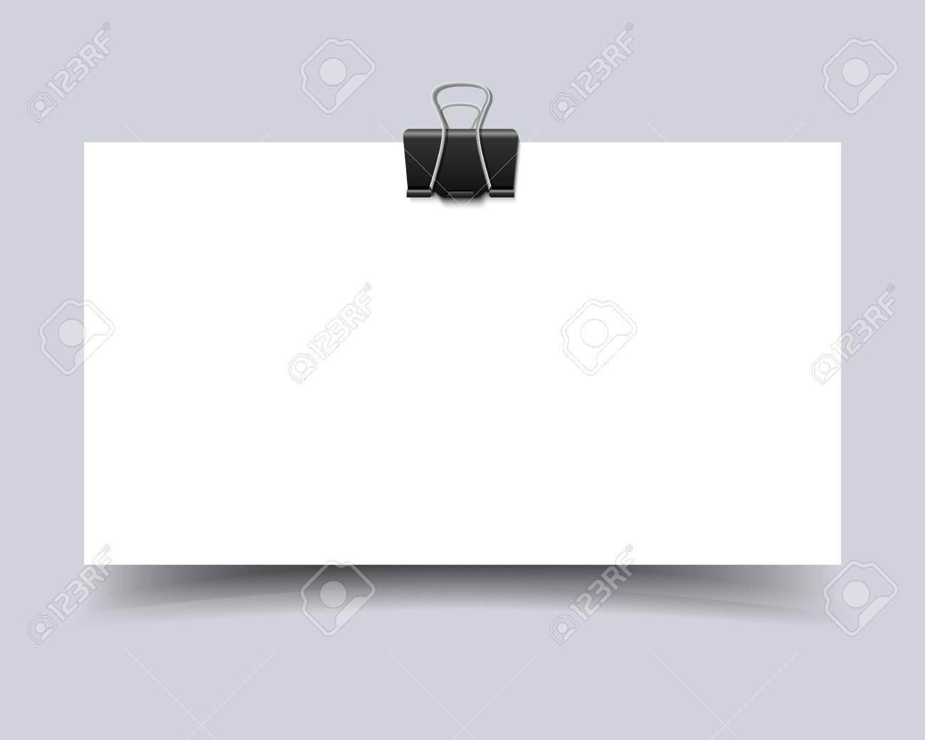 Carte De Papier Avec Un Trombone Et Dombre Raliste Vecteur