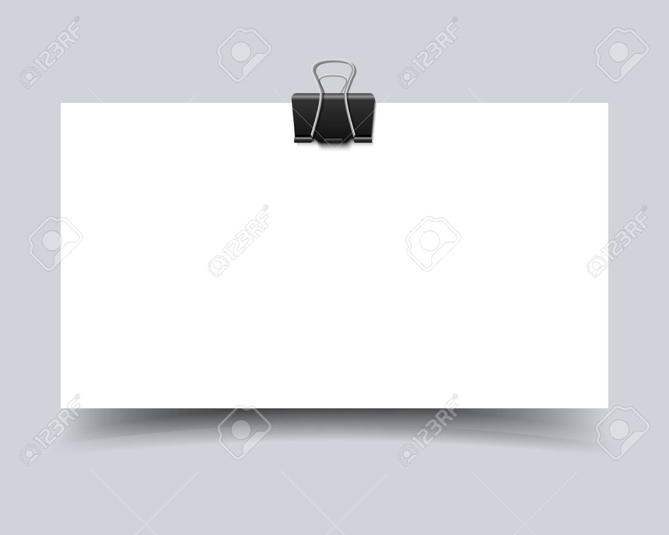 Paper Card With Paper Clip And Shadow. Realistic Vector Business ...