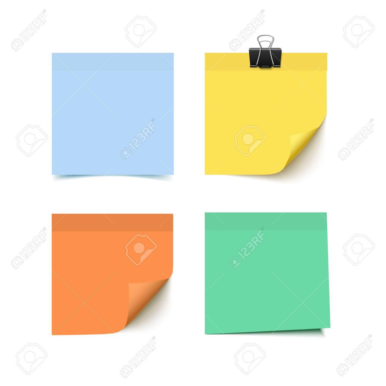 4 つのカラフルな付箋のセットです付箋紙のリアルなベクター イラスト