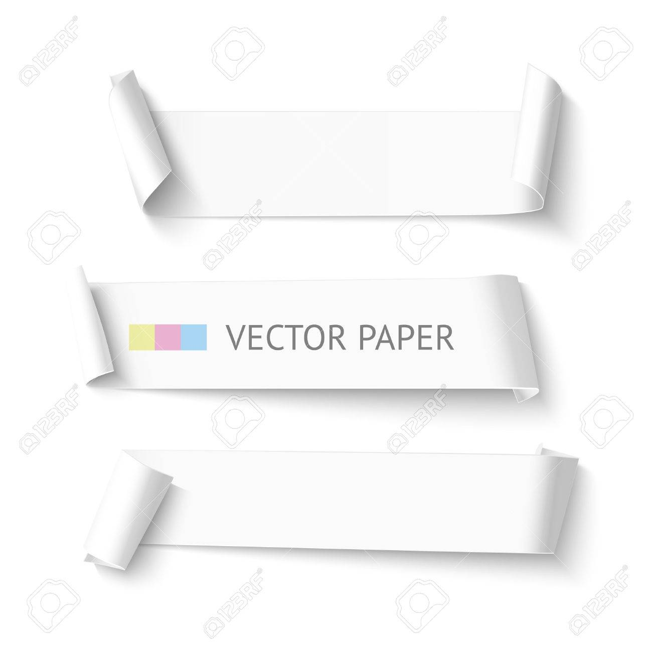 set of horizontal blank white curved paper ribbon banner realistic