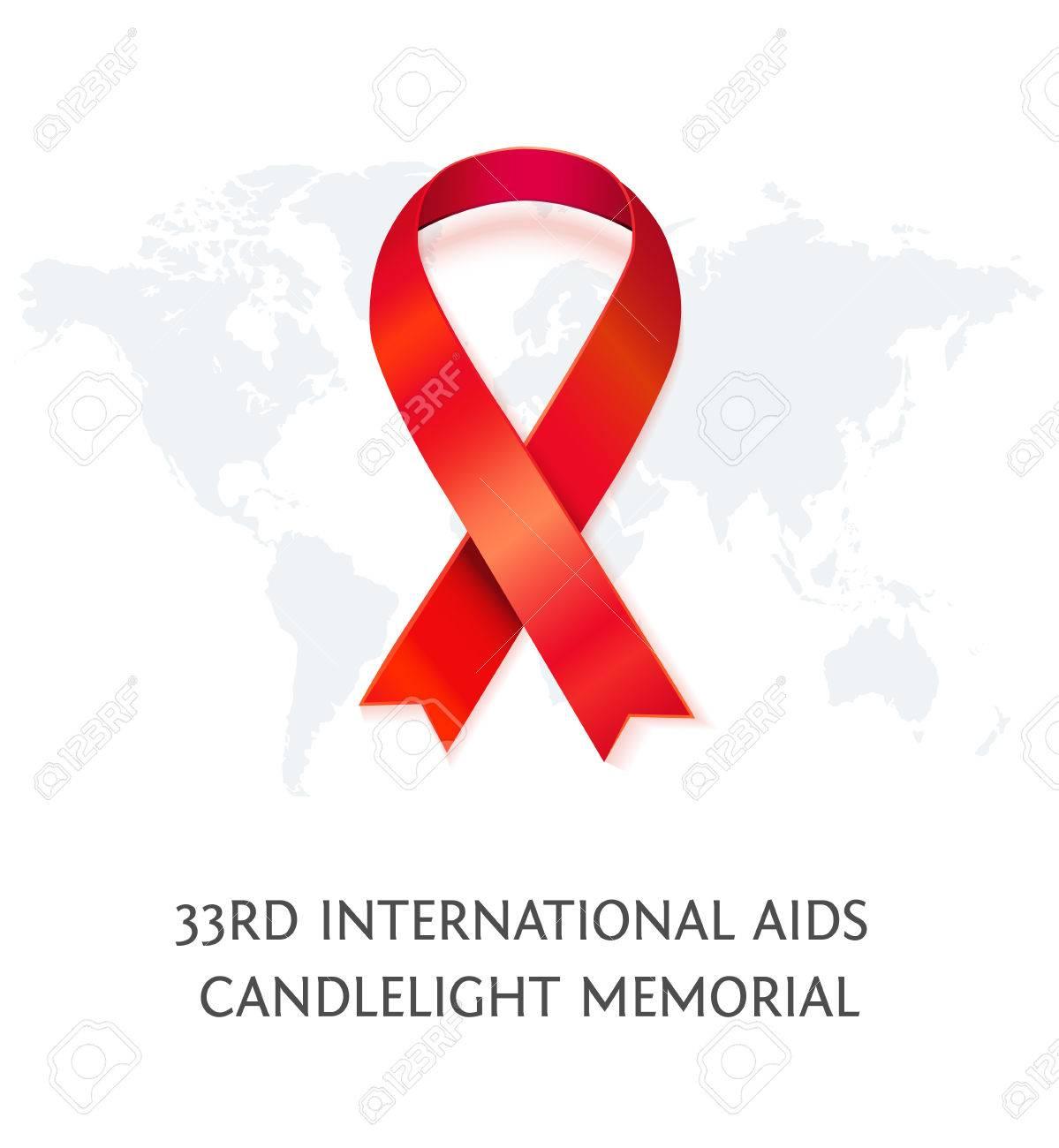 Aids Awareness Red Vector Ribbon Symbol Of Aids Memorial Day