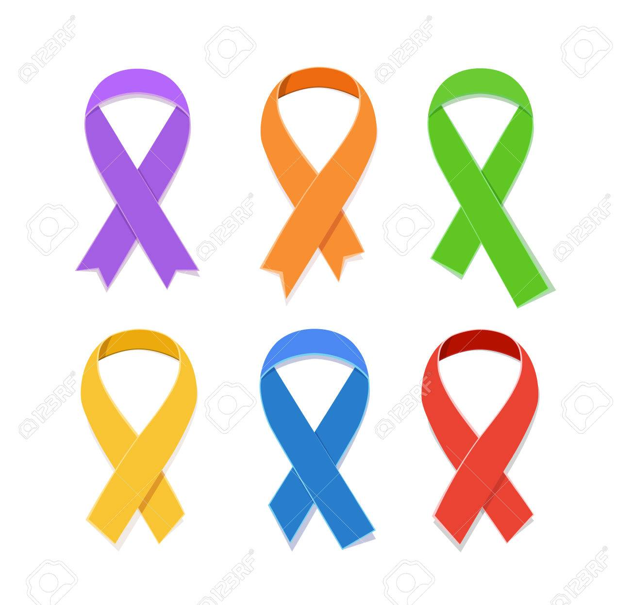 Collection Of Awareness Colorful Vector Ribbons Symbol Of Aids