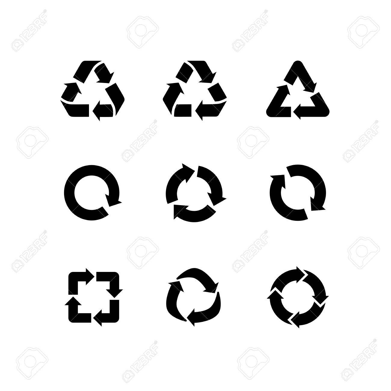 Set of vector signs of recycling, arrow icons isolated on white. Recycle icons, reuse logo, reduce symbol. Ecological symbols of recycle, environment icons collection. Recycle sign - 58789728