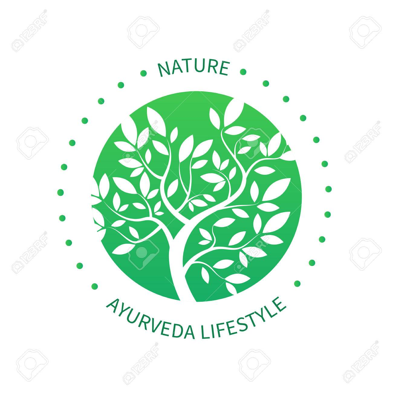 Ayurvedic tree icon, alternative medicine icon isolated on white. - 59070988