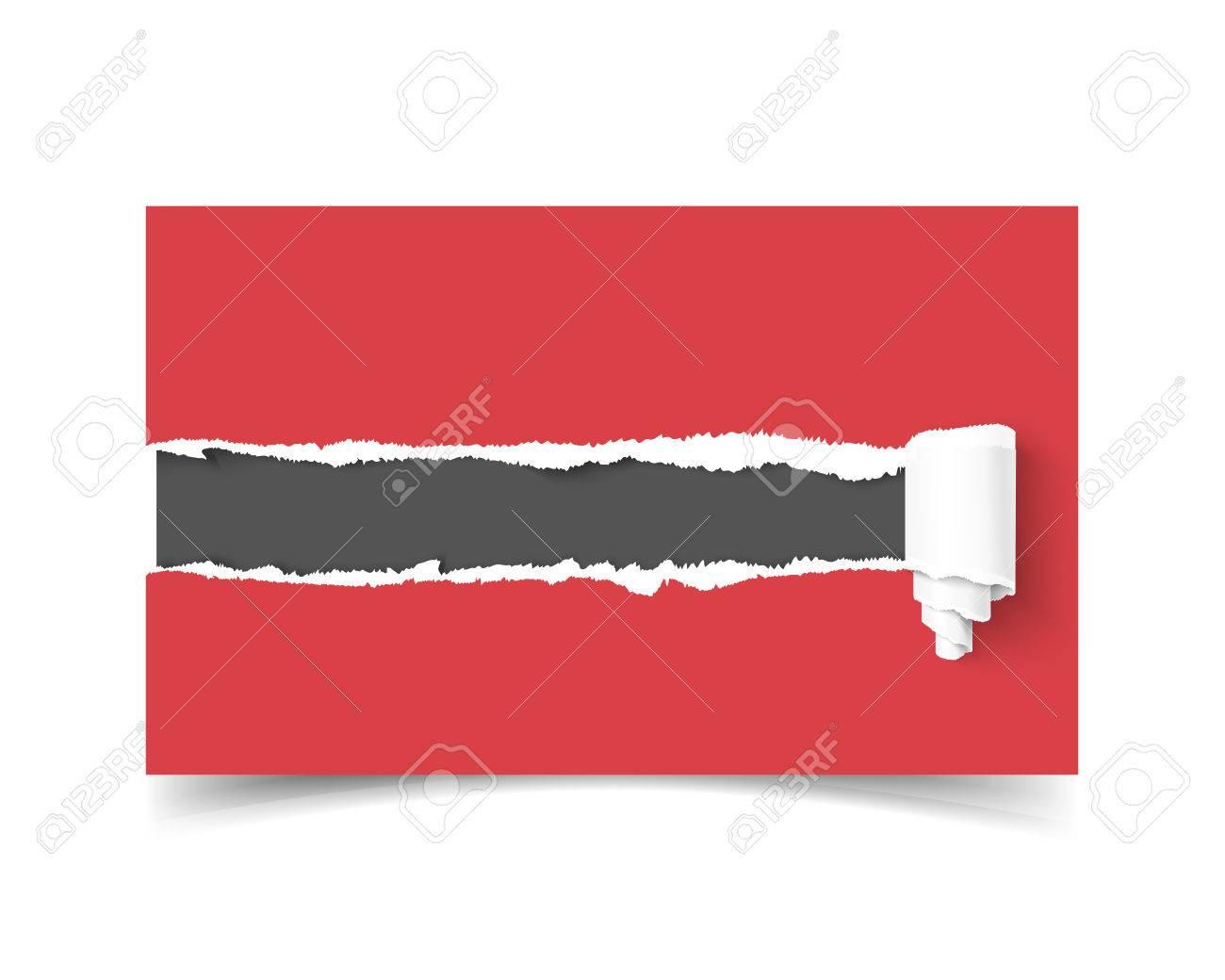 Realiste Carte De Visite Modele Vecteur Avec Le Trou Dans Papier Dechire Bords Et Rouleau Copyspace Sombre Pour Texte Isole Sur