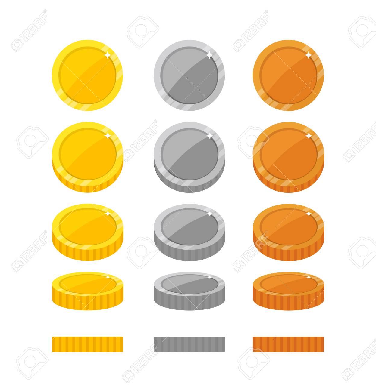 Dibujos Animados Plana Monedas Marcos De Rotación Ilustraciones ...