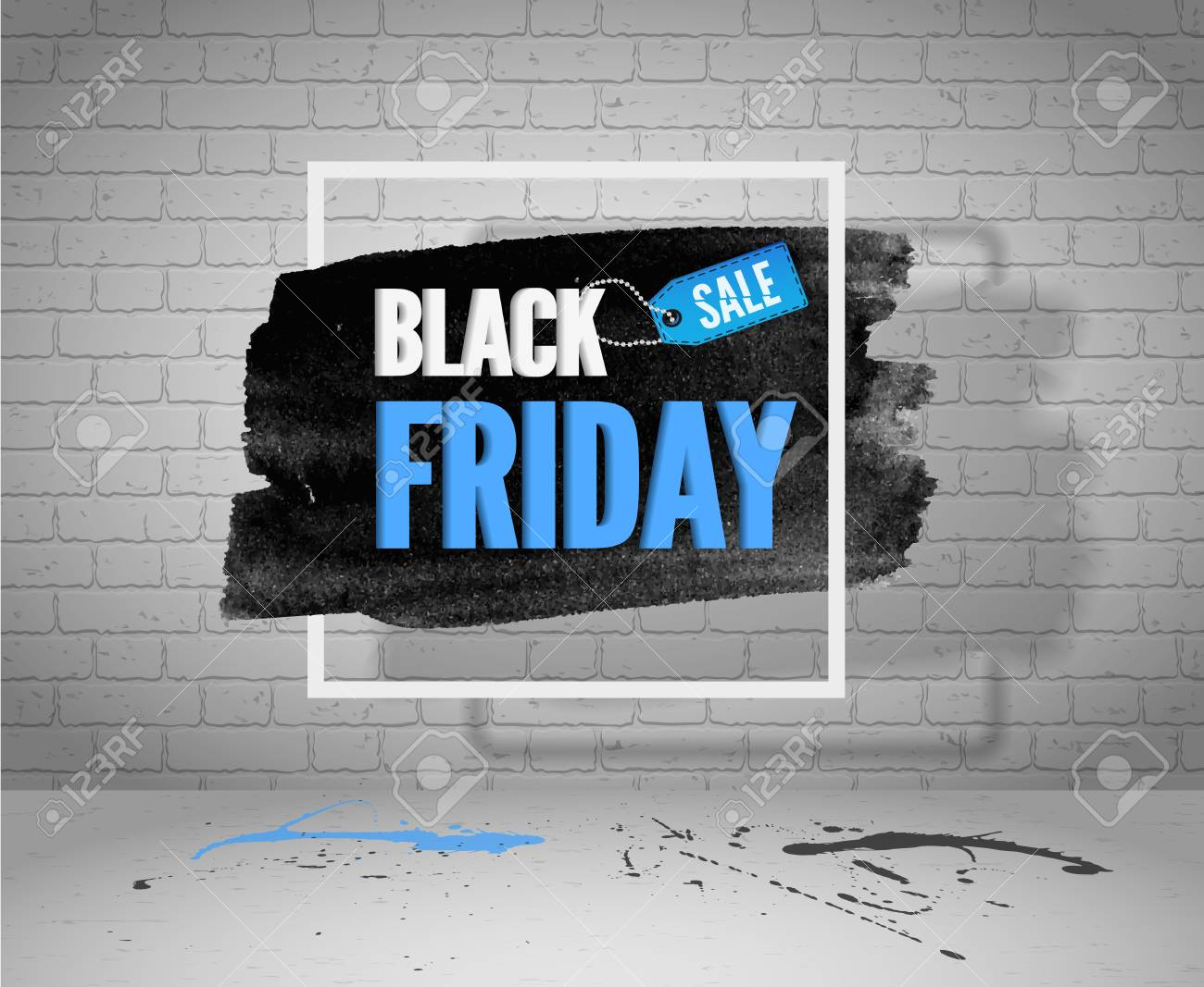 Black Friday sale vector grunge banner for web or advertisement. Watercolor in frame with a shopping tag, blue and black splashes on concrete floor and white brick background - 120060386