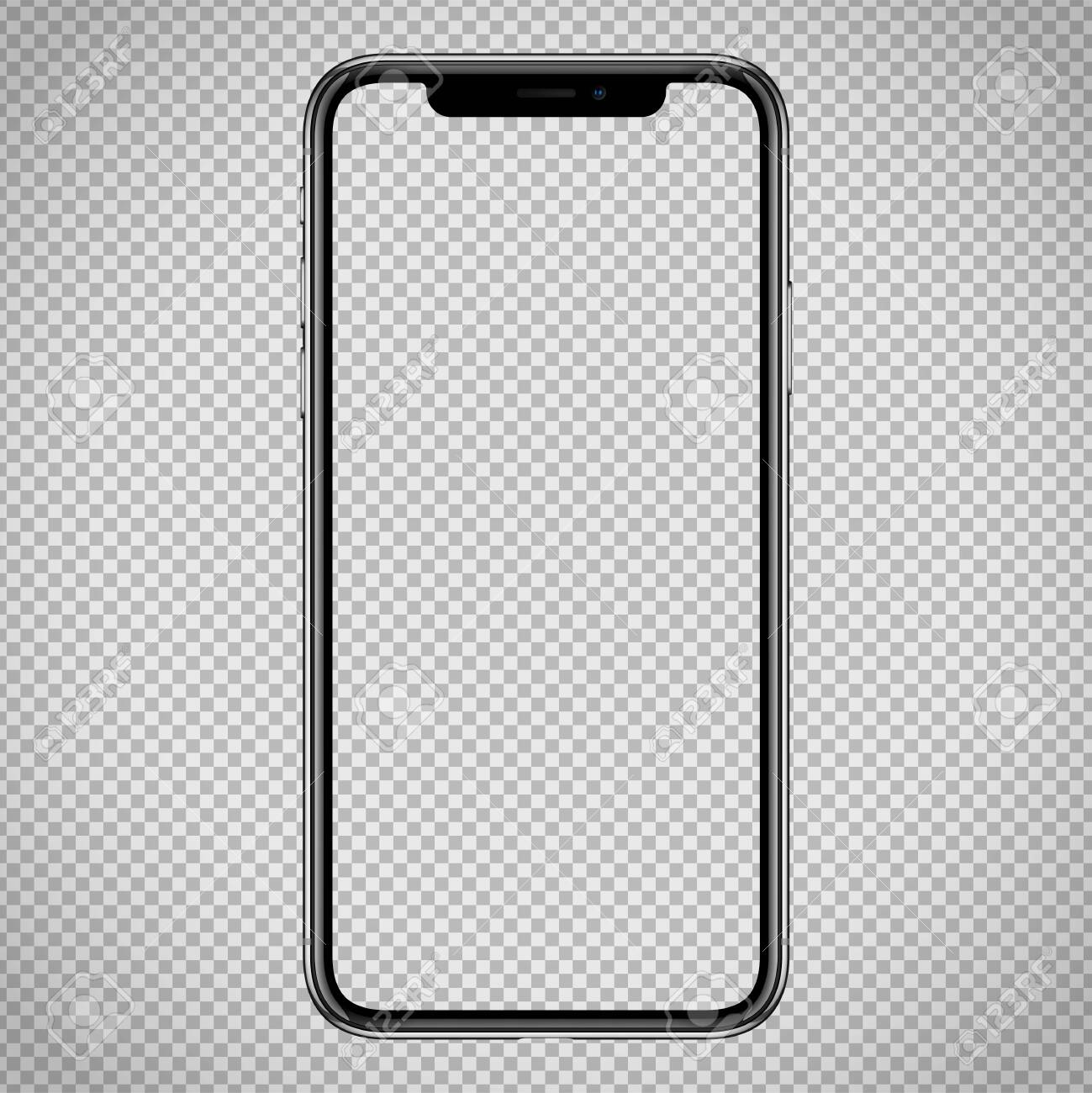 new vector Smartphone template for web interface, app demo mockup. No frames and blank screen on transparent backround - 122556708