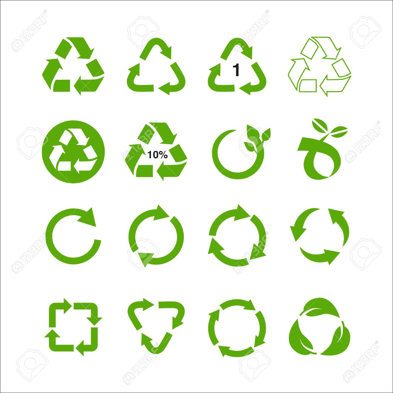 Set of recycle symbol vector illustration isolated on white background - 127964960