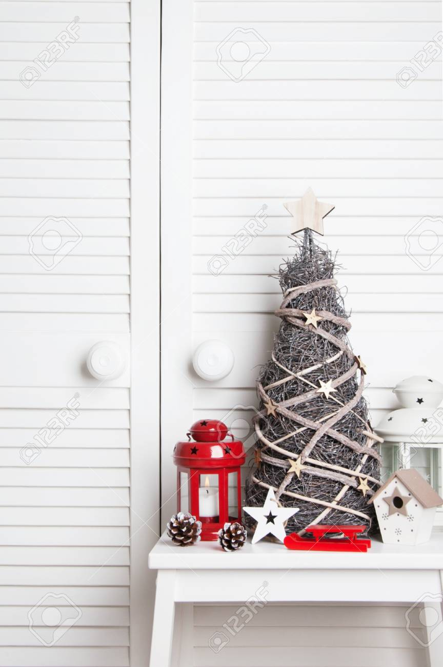 Wooden Christmas Tree And Heart Red And White Candlesticks