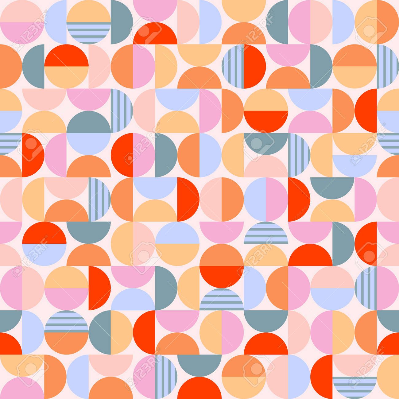 Geometry minimalistic artwork poster with circles and semicircles. Vintage style vector pattern design in scandinavian style for fabric print, web banner, business presentation and branding packages. - 168750291