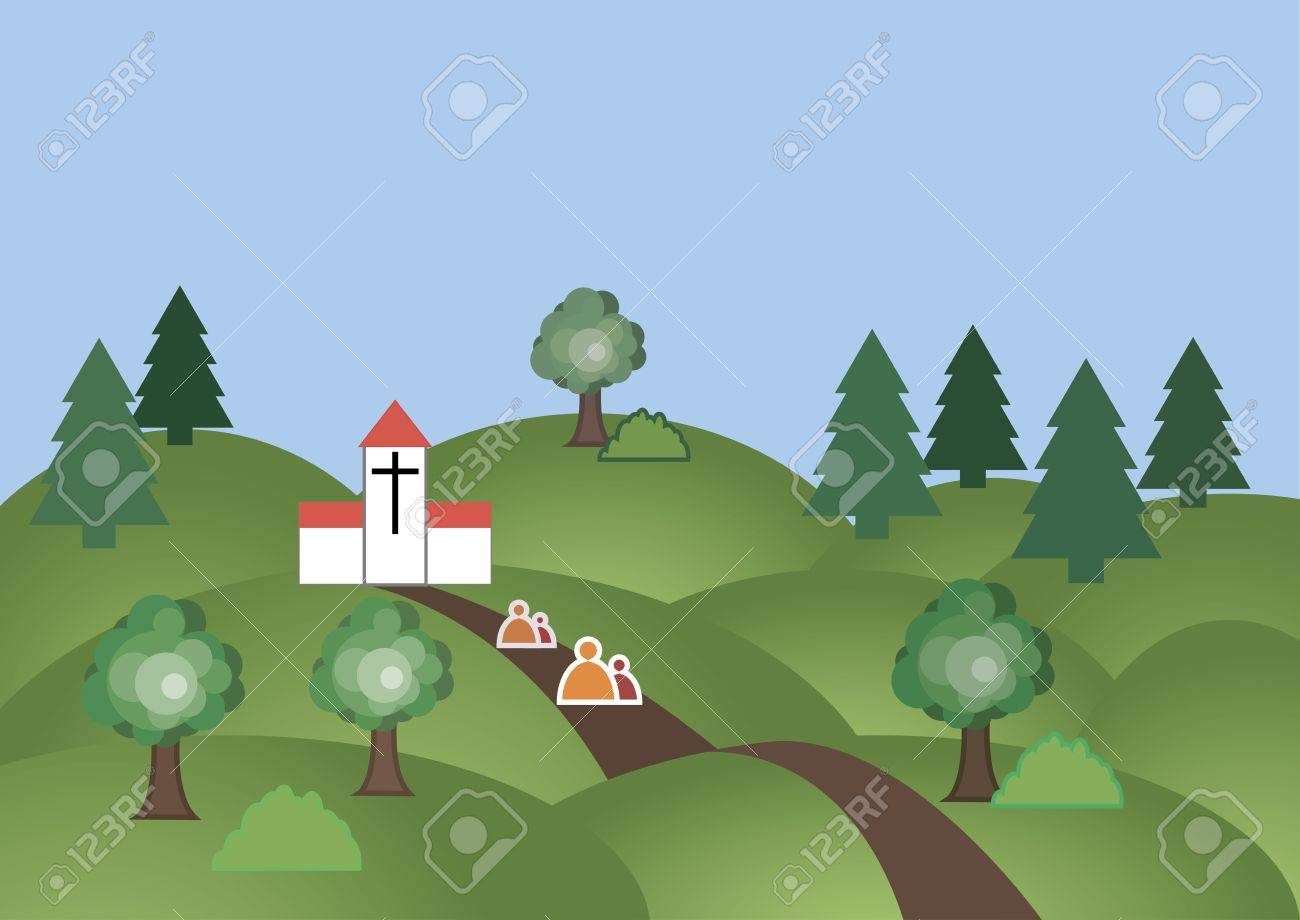 people walking along the road through the woods to the chhurc Stock Vector - 17956384
