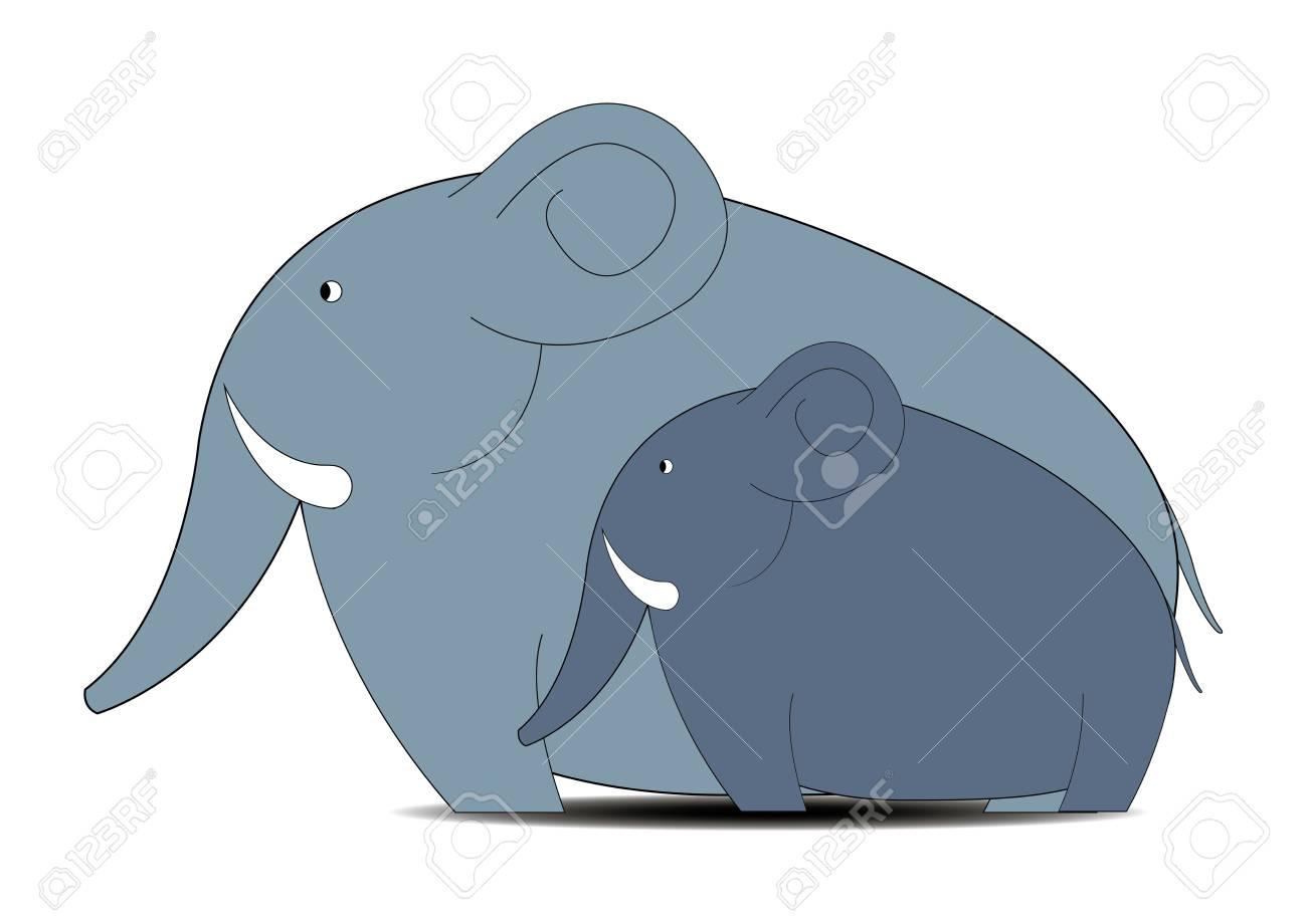 Children's illustration / family of elephants Stock Vector - 18661532