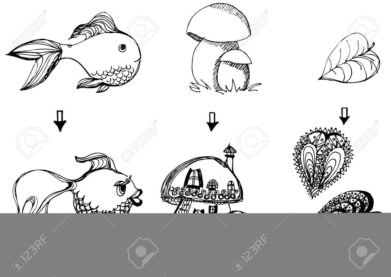vector black and white children Stock Vector - 22734610