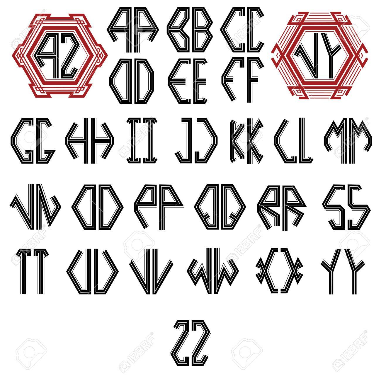 Vector English Font With Monogram Royalty Free Cliparts Vectors