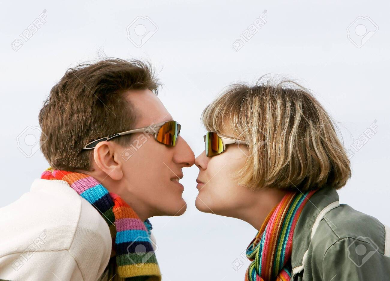 young couple profiles, isolated Stock Photo - 4299937