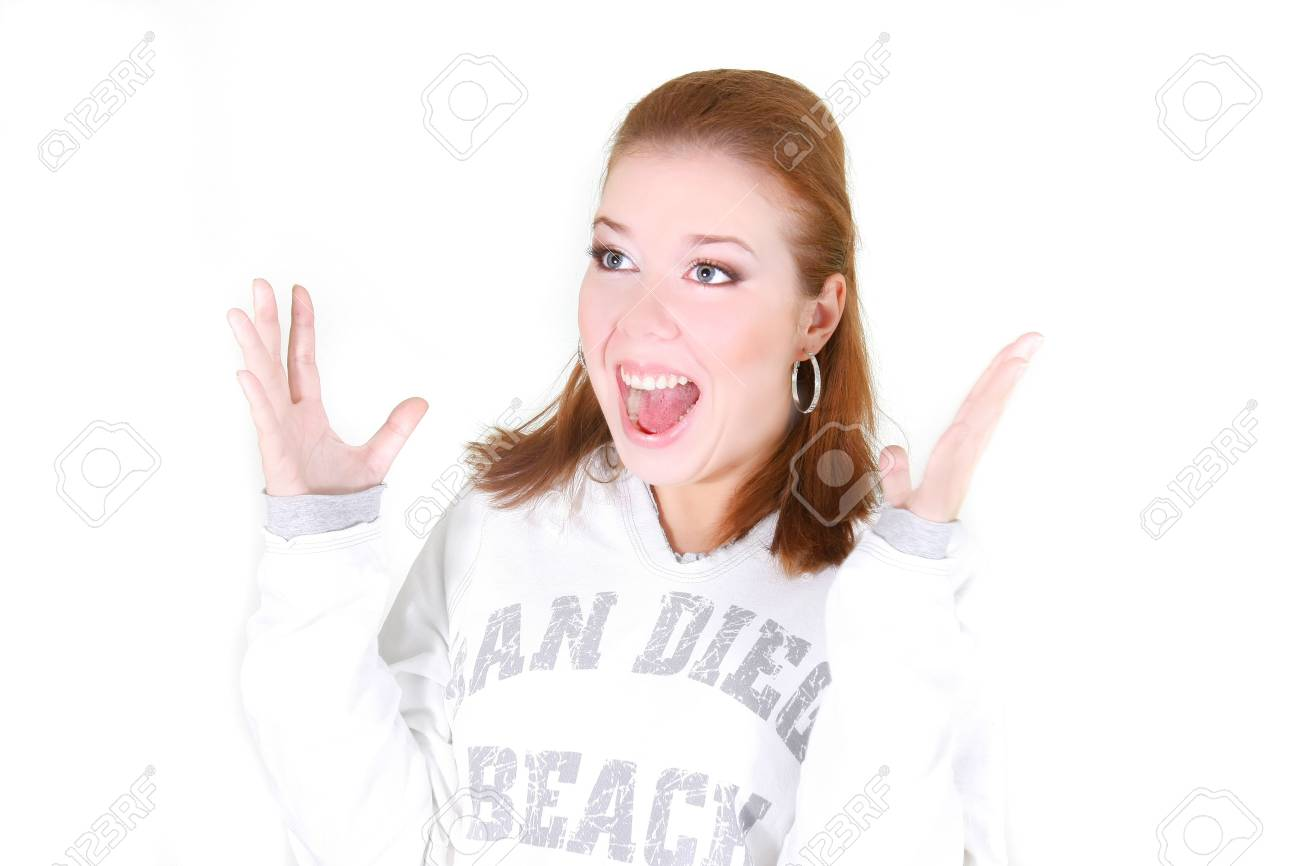 surprised girl over white Stock Photo - 5883098