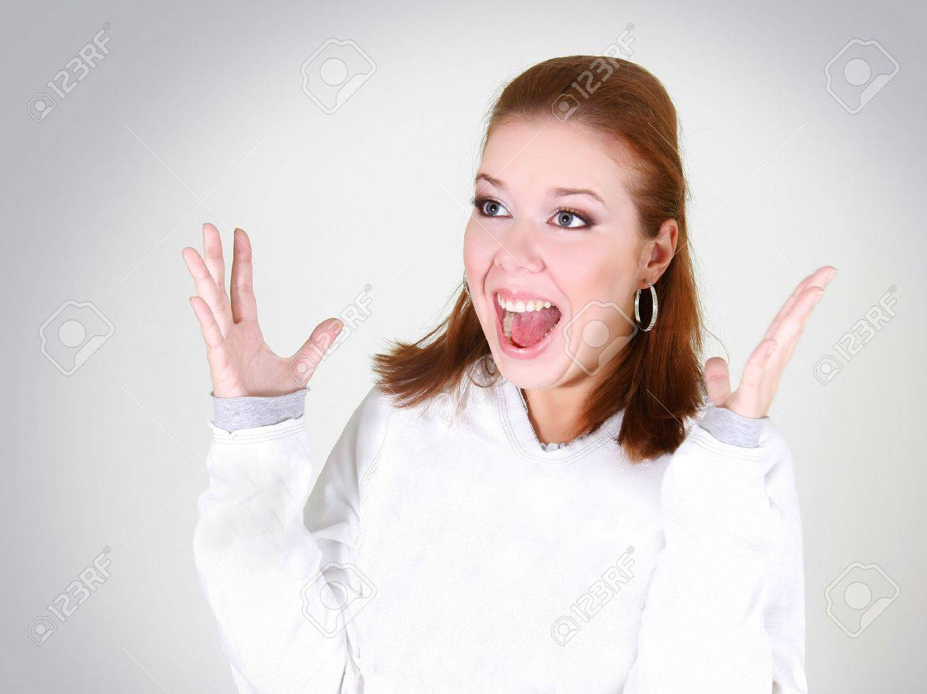 happy girl shouting out Stock Photo - 5883019