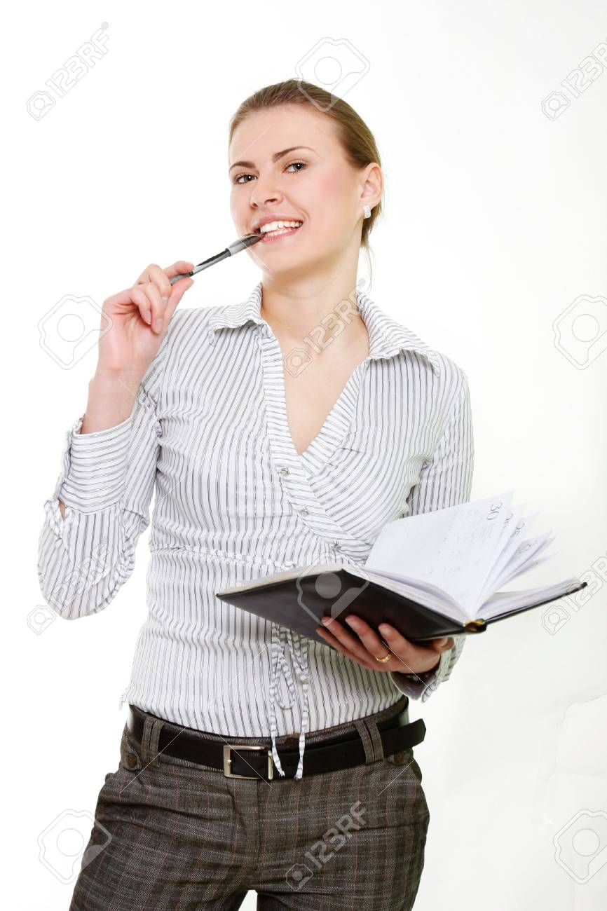 attractive business woman over white Stock Photo - 6449942