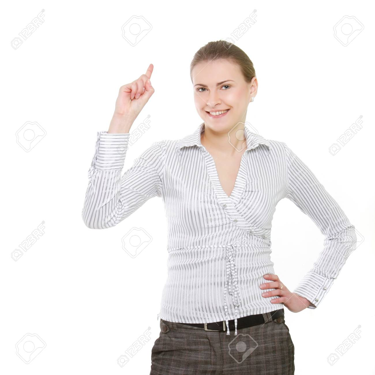 attractive business woman over white Stock Photo - 7768790