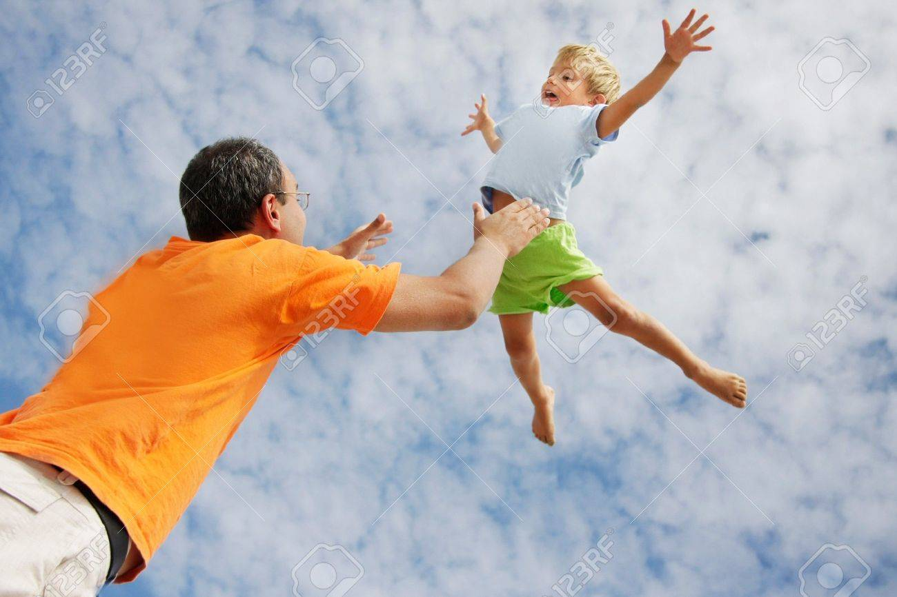 flying child on sky background Stock Photo - 7788055