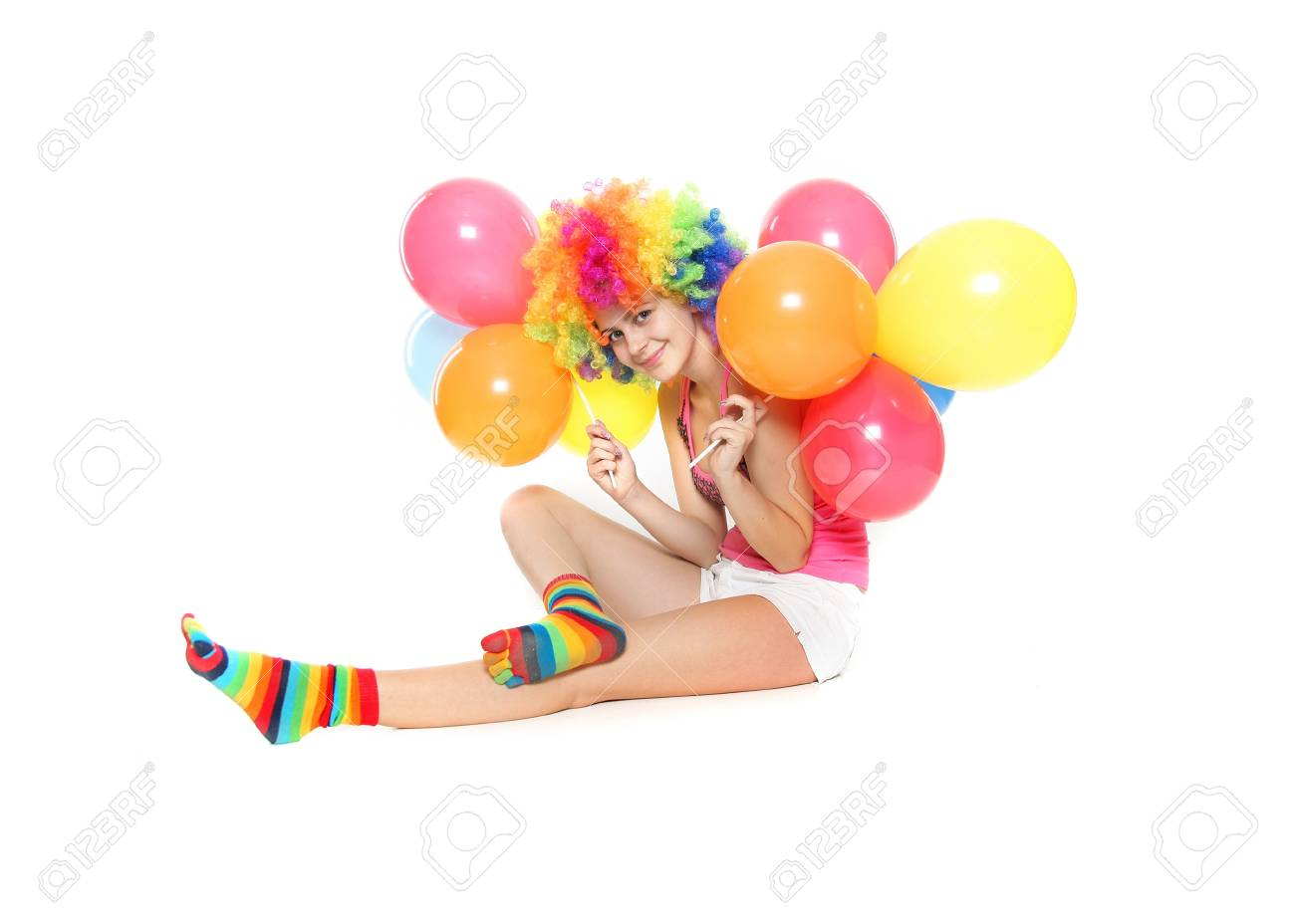 young happy woman with balloons over white Stock Photo - 11904998