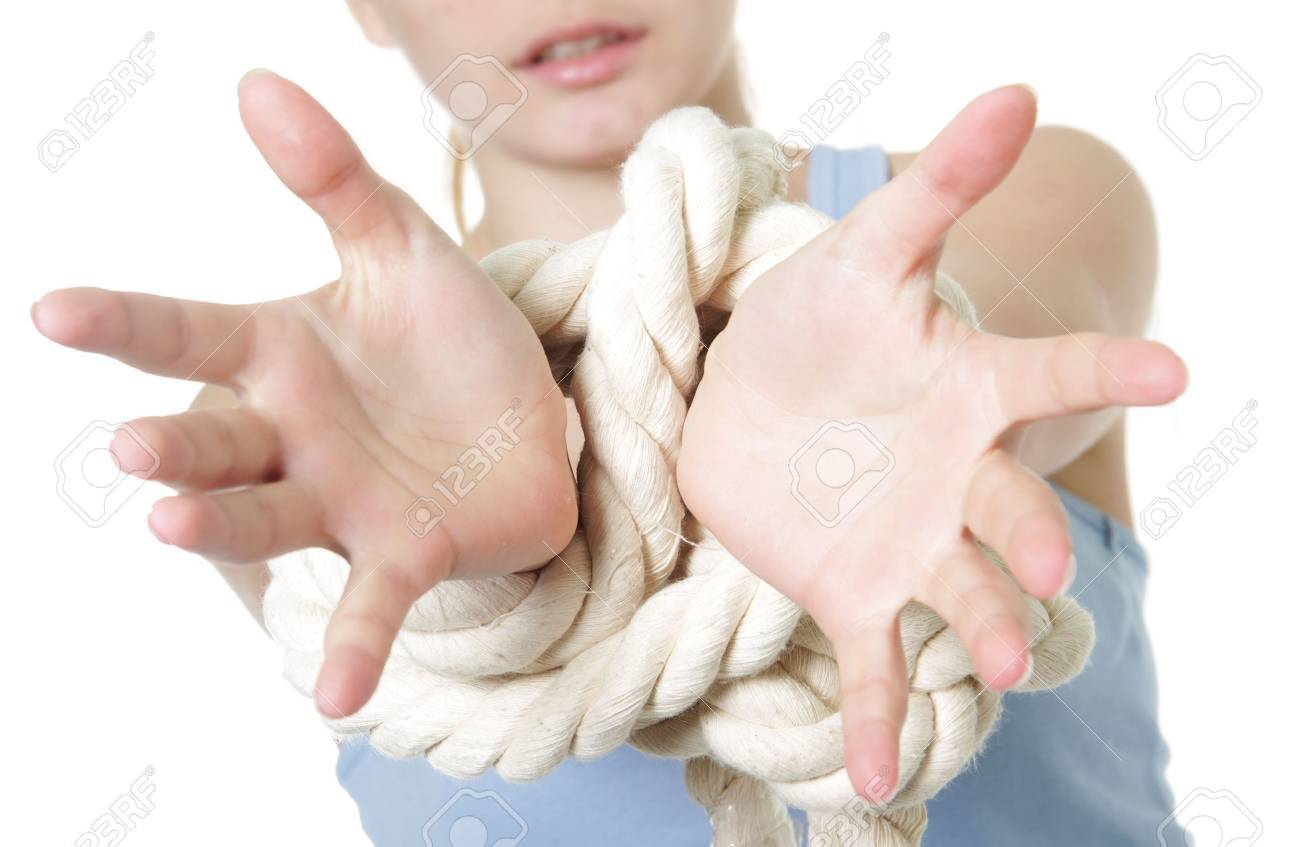young woman with bounded hands Stock Photo - 13034712