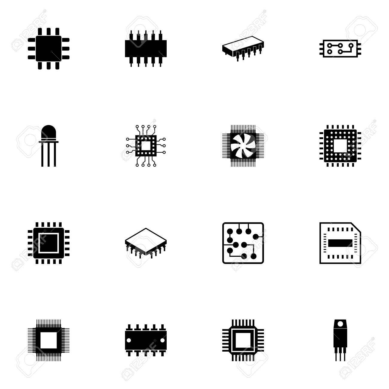 Computer Chips icon - Expand to any size - Change to any colour. Perfect Flat Vector Contains such Icons as CPU, GPU, processor, silicon chip, microchip, microcircuit, resistor, transistor, conductor - 151290619