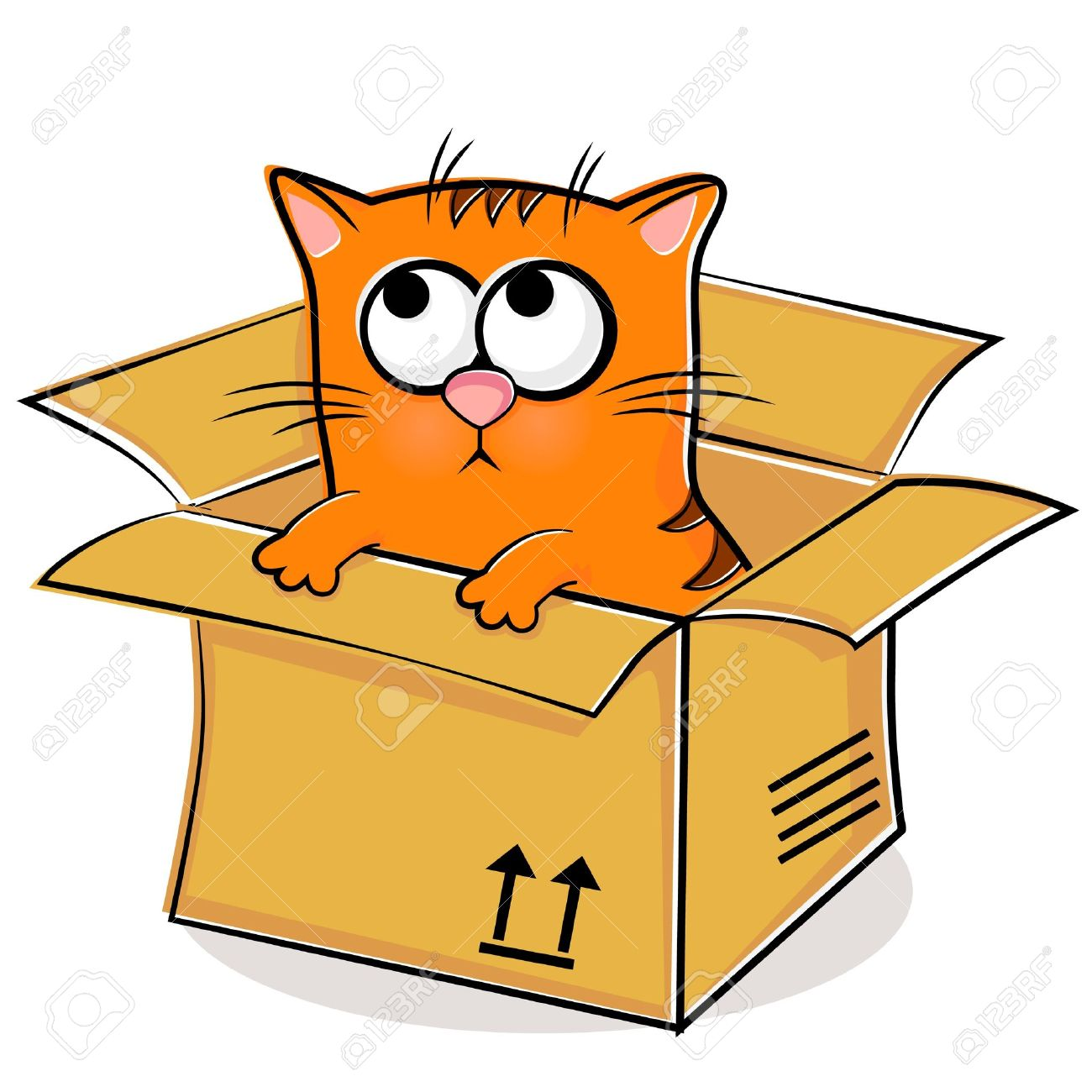 illustration of nice red kitten in box royalty free cliparts