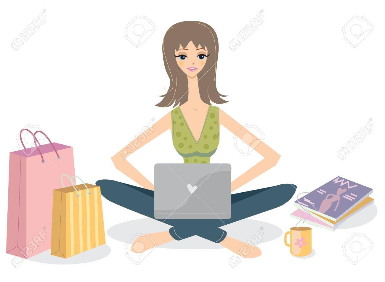 Ilustración de la chica con bolsas para portátiles y las compras Foto de archivo - 20294931
