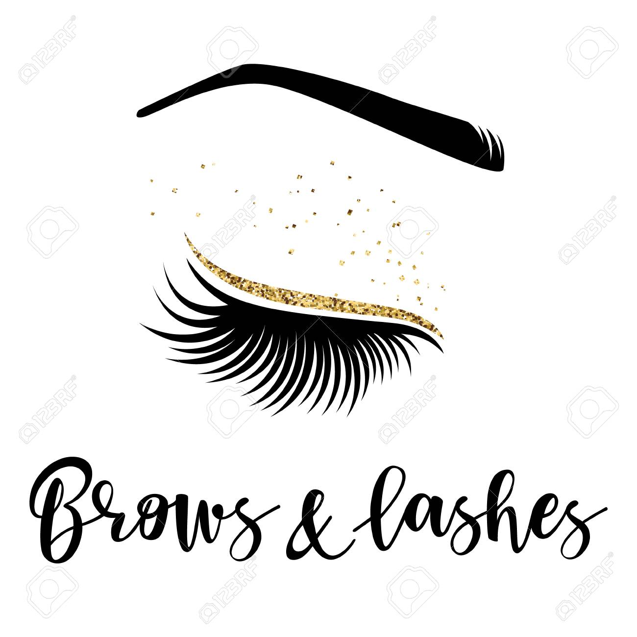 18906774373 Brows and lashes logo. Vector illustration of lashes and brow. For beauty  salon,