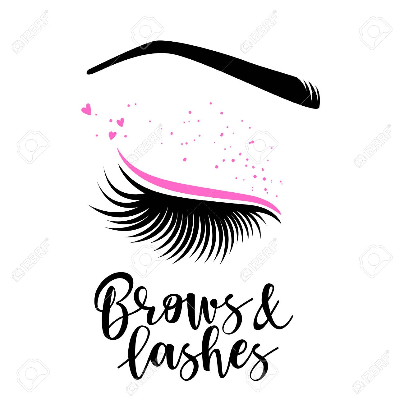9fe5aed5b31 Brows and lashes lettering. Vector illustration of lashes. For beauty  salon, lash extensions