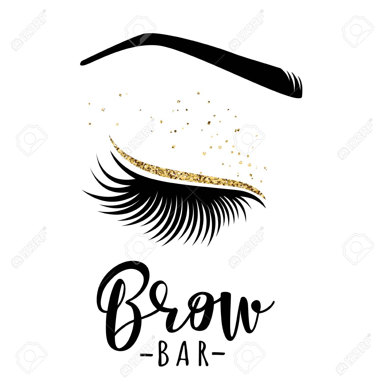 Brow bar logo  Vector illustration of lashes and brow  For beauty