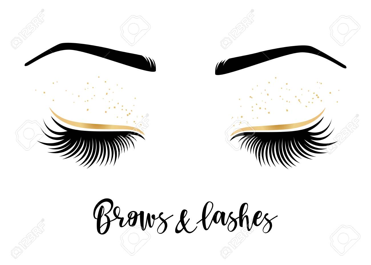 5034d86974b Brows and lashes lettering. Vector illustration of lashes and brows. For  beauty salon,