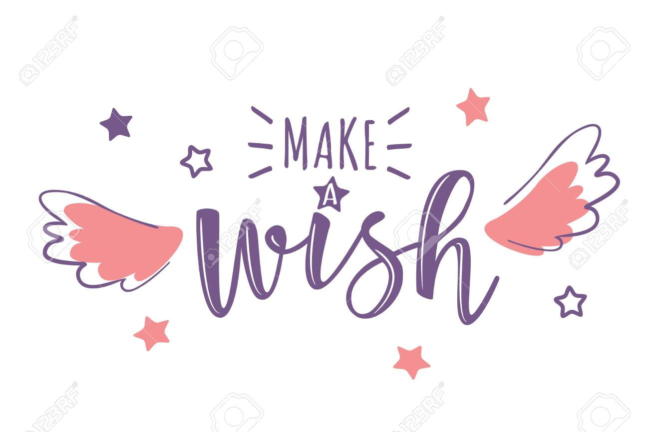 Vector Greeting Card With Make A Wish Inscription Can Be Used