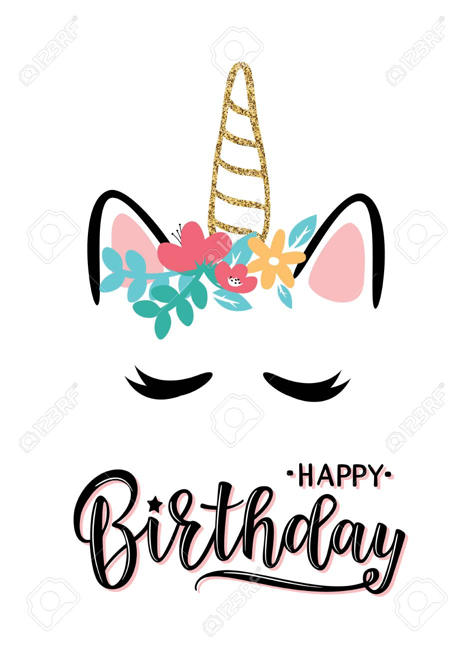 Vector Illustration Of A Happy Birthday Invitation With Unicorn