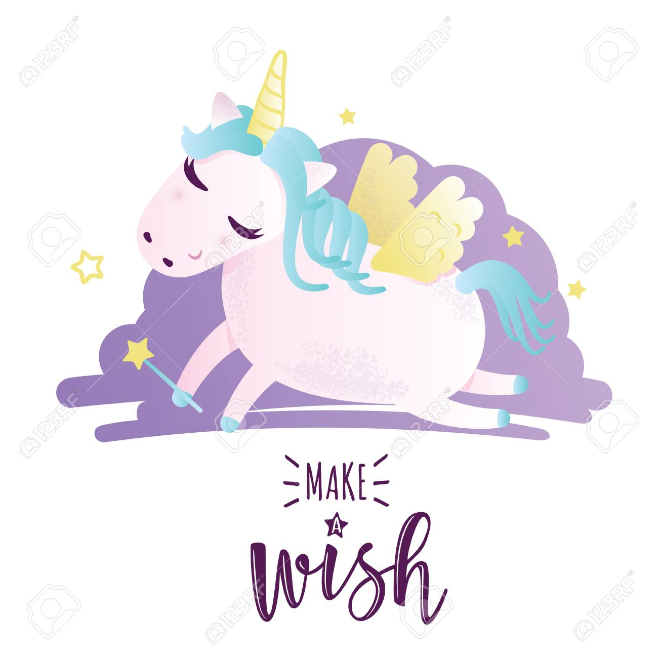 Vector illustration of a cute unicorn greeting card with make vector illustration of a cute unicorn greeting card with m4hsunfo
